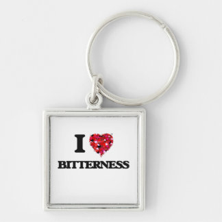 I Love Bitterness Silver-Colored Square Keychain
