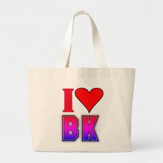 I Love BK Brooklyn Heart Large Tote Bag