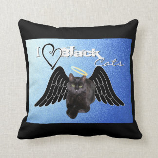 I love black cats (blue) Throw Pillow