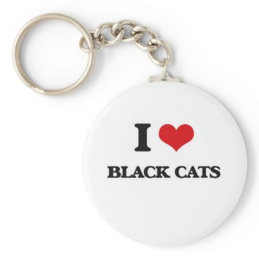 Halloween Themed I Love Black Cats Keychain