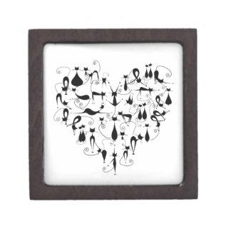 i love black cats silhouette premium trinket box