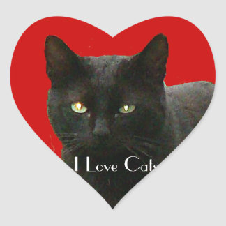 I Love Black Cats Heart Sticker