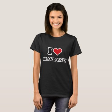 Halloween Themed I Love Black Cats T-Shirt