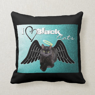I love black cats Throw Pillow