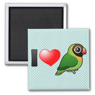 I Love Black-cheeked Lovebirds 2 Inch Square Magnet