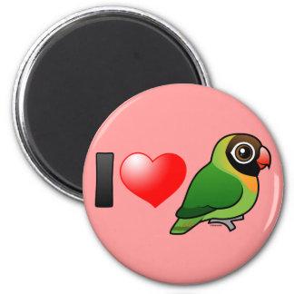 I Love Black-cheeked Lovebirds 2 Inch Round Magnet