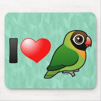 I Love Black-cheeked Lovebirds Mousepad