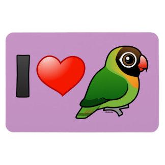 I Love Black-cheeked Lovebirds Rectangular Photo Magnet