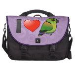 I Love Black-collared Lovebirds Laptop Bags