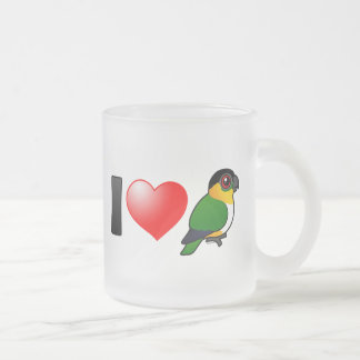 I Love Black-headed Parrots Frosted Glass Coffee Mug