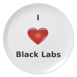 I Love Black Labs Dinner Plates