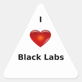 I Love Black Labs Triangle Sticker