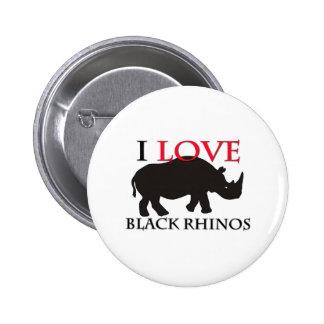 I Love Black Rhinos 2 Inch Round Button