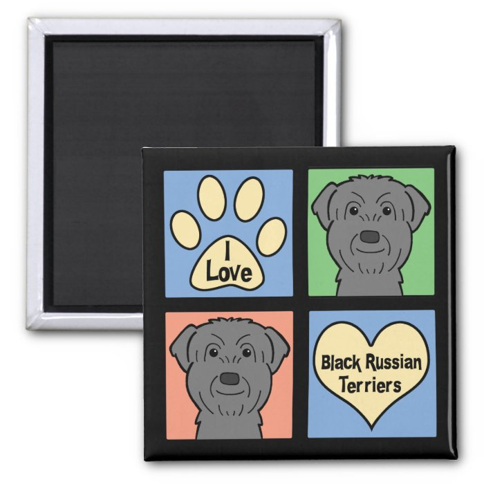 I Love Black Russian Terriers 2 Inch Square Magnet