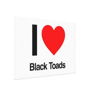 i love black toads canvas print