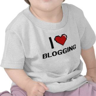 I Love Blogging Digital Retro Design Shirts