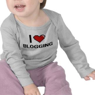I Love Blogging Digital Retro Design Tee Shirt