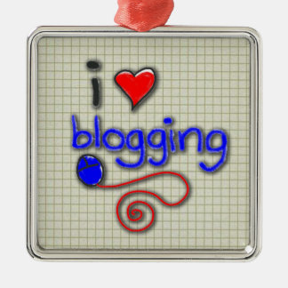 I Love Blogging Metal Ornament