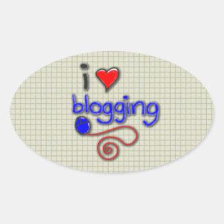 I Love Blogging Oval Sticker