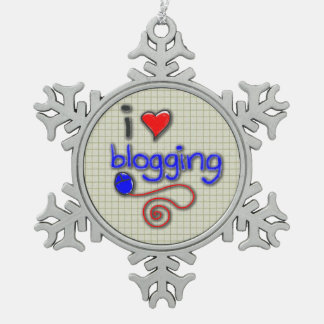 I Love Blogging Snowflake Pewter Christmas Ornament