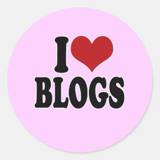 I Love blogs Round Stickers