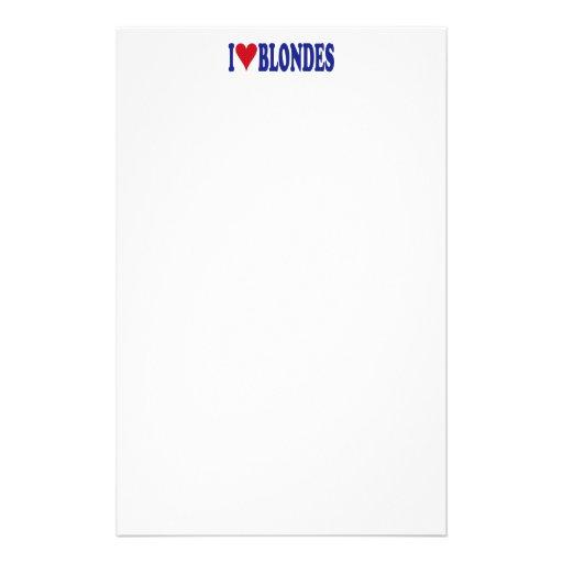 I Love Blondes Stationery Design