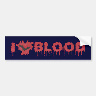 I Love Blood with Vampire Bat Car Bumper Sticker