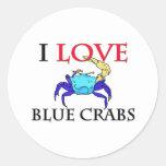 I Love Blue Crabs Round Sticker