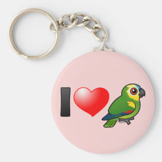 I Love Blue-fronted Amazons Basic Round Button Keychain