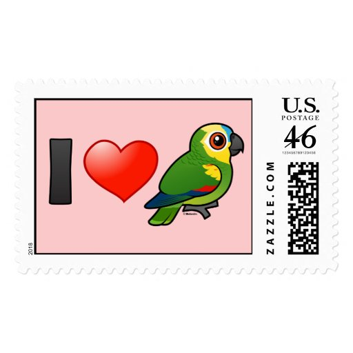 I Love Blue-fronted Amazons Stamps