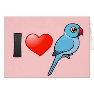 I Love Blue Indian Ringnecks Greeting Card