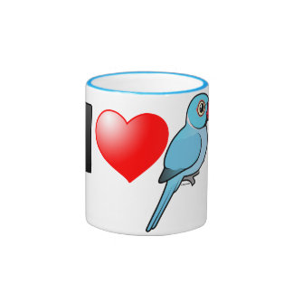 I Love Blue Indian Ringnecks Ringer Coffee Mug