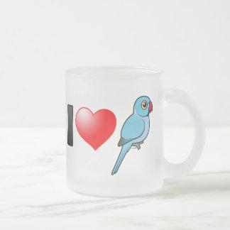 I Love Blue Indian Ringnecks 10 Oz Frosted Glass Coffee Mug