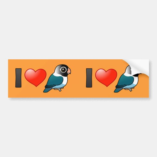 I Love Blue Masked Lovebirds Bumper Sticker