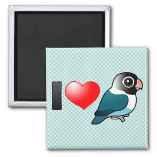 I Love Blue Masked Lovebirds 2 Inch Square Magnet
