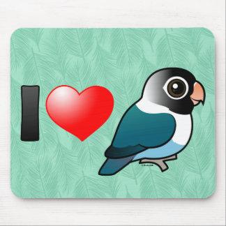 I Love Blue Masked Lovebirds Mouse Pad