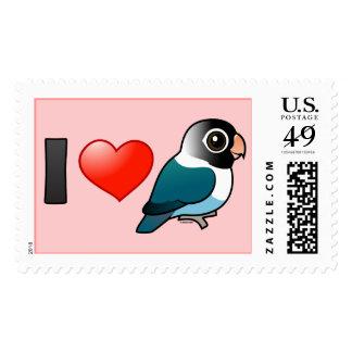 I Love Blue Masked Lovebirds Stamp