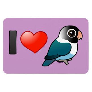I Love Blue Masked Lovebirds Rectangular Photo Magnet