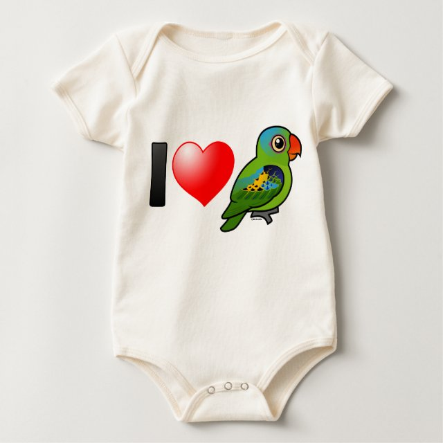 cute i love blue naped parrots infant organic creeper