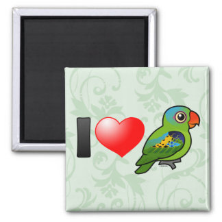 I Love Blue-naped Parrots 2 Inch Square Magnet