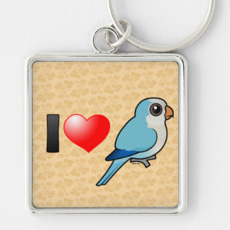 I Love Blue Quakers Silver-Colored Square Keychain