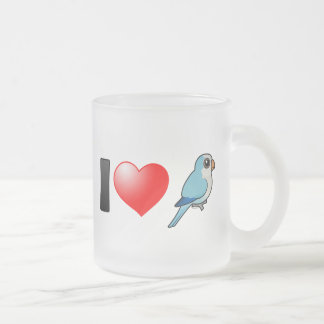 I Love Blue Quakers 10 Oz Frosted Glass Coffee Mug