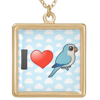 I Love Blue Quakers Square Pendant Necklace