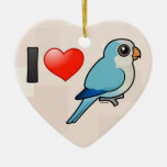 I Love Blue Quakers Double-Sided Heart Ceramic Christmas Ornament