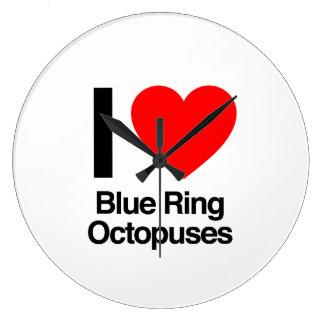 i love blue ring octopuses clock