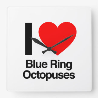 i love blue ring octopuses square wall clocks