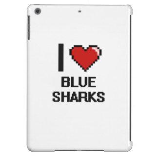 I love Blue Sharks Digital Design Case For iPad Air