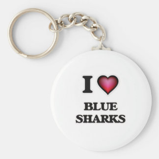 I Love Blue Sharks Keychain