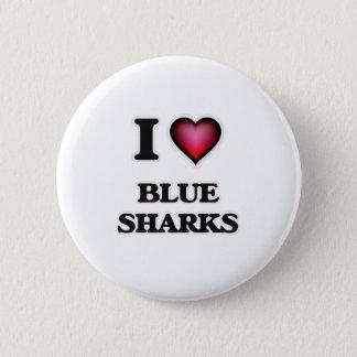 I Love Blue Sharks Pinback Button
