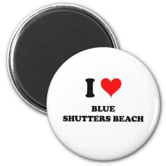 I Love Blue Shutters Beach 2 Inch Round Magnet